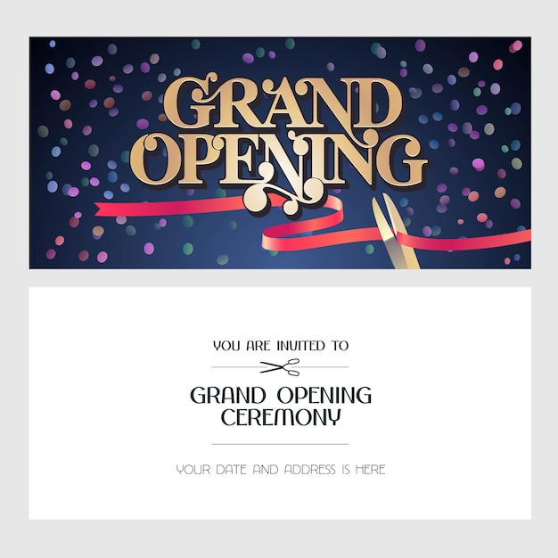 Grand opening  illustration, background, invitation card. template invite to red ribbon cutting ceremony with body copy Premium Vector
