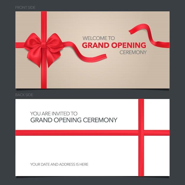 Торжественное открытие иллюстрации, пригласительный билет. Premium векторы