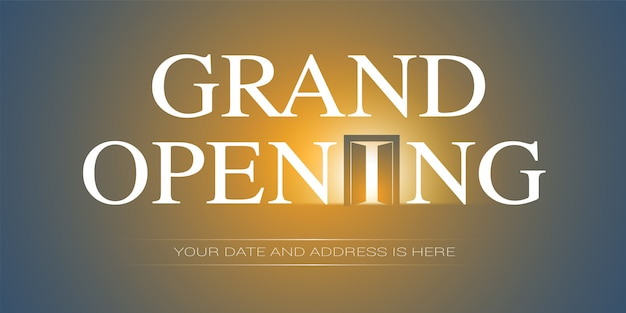 Grand opening  illustration. template banner,  for opening event Premium Vector