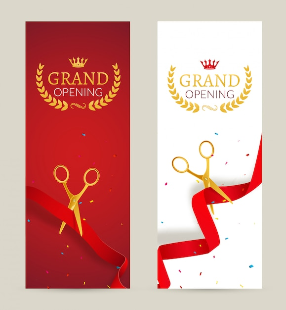 Grand opening invitation banner. red ribbon cut ceremony event. grand opening celebration card Premium Vector