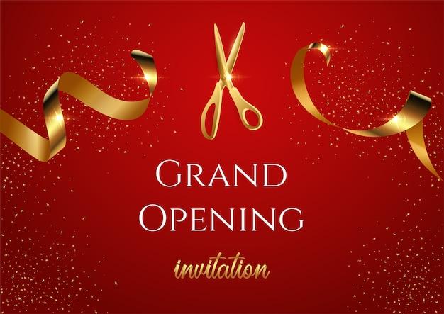 Grand opening invitation banner, shiny scissors cutting golden ribbon realistic illustration. Premium Vector