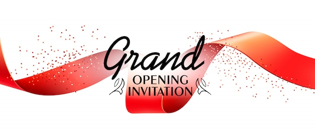 Grand opening invitation banner with red ribbon Free Vector