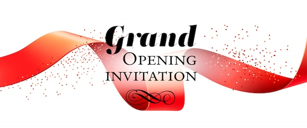 Grand opening invitation, banner with red ribbon Free Vector