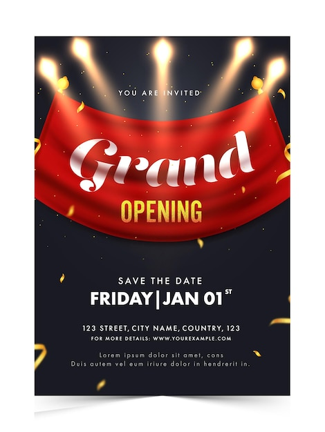 Grand opening invitation, flyer design with event details Premium Vector