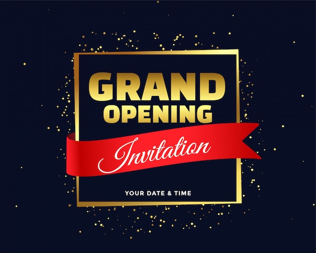 Grand opening invitation in golden theme Free Vector
