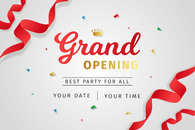 Grand opening invitation realistic style Premium Vector