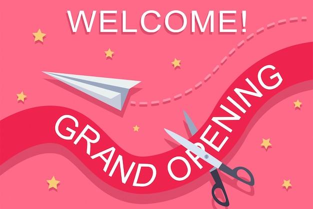 Grand opening invitation vector illustration. Premium Vector