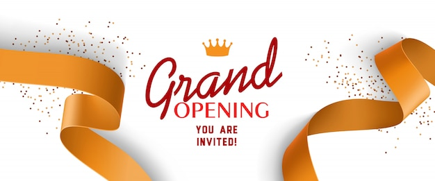 Grand opening invitation with gold ribbons, crown Free Vector