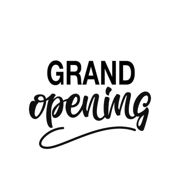 Grand opening lettering Premium Vector