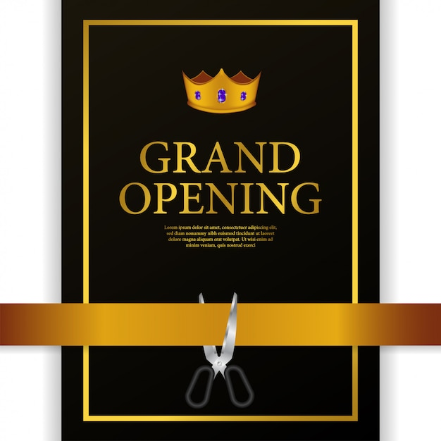 Grand opening luxury gold crown cutting ribbon Premium Vector