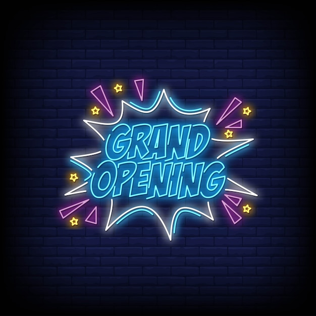 Grand opening neon sign text vector Premium Vector