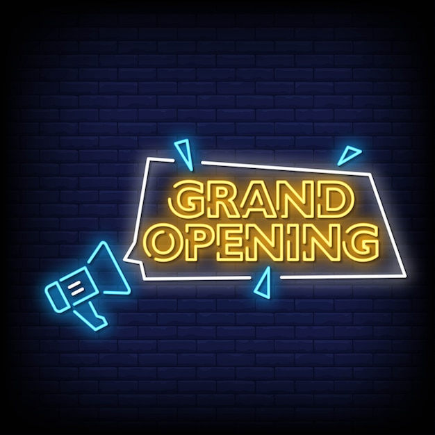 Grand opening neon signs style text Premium Vector