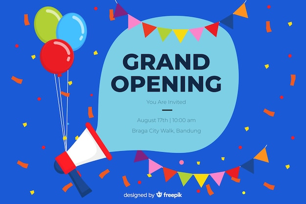 Grand opening party background template Free Vector