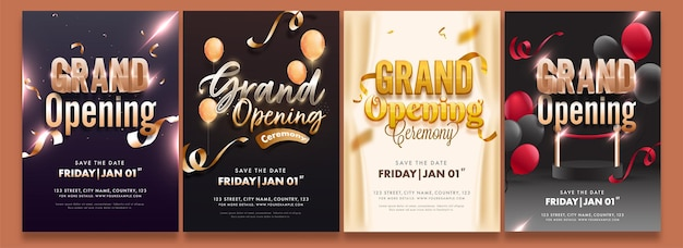 Grand opening party flyer or invitation template layout in four options Premium Vector