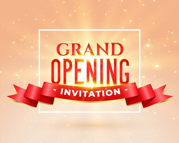Grand opening party invitation card Free Vector