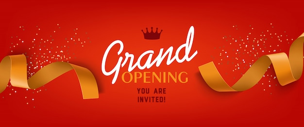 Grand opening red banner with gold ribbon, crown Free Vector