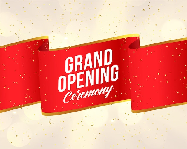 Grand opening red ribbon banner design template Free Vector