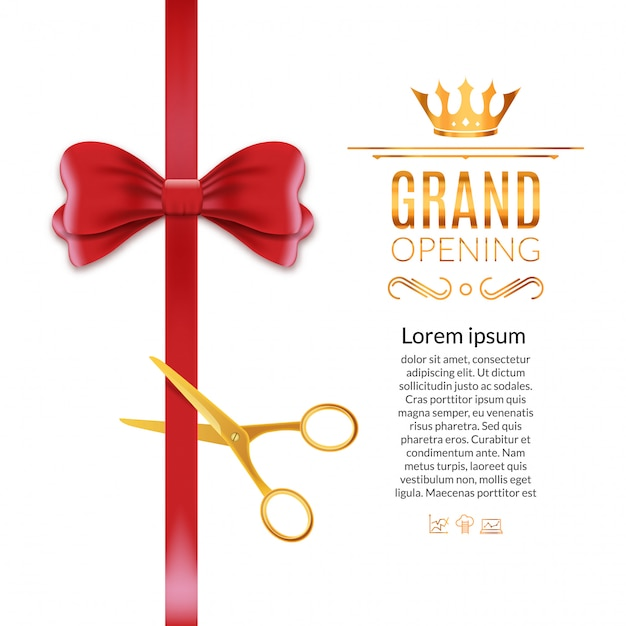 Grand opening red ribbon and bow. open ceremony scissor ribbon cut background Premium Vector