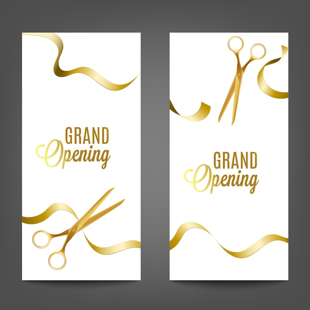Grand opening  set with yellow golden ribbon cutting with scissors, realistic  illustration  on white background. advertising banner template. Premium Vector