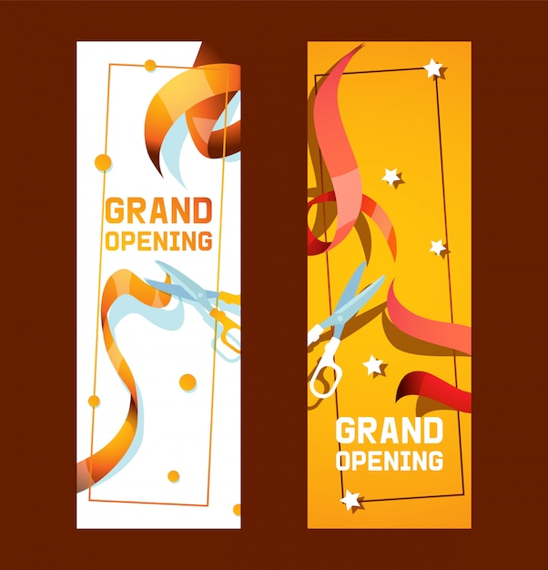 Grand opening of shop, store advertisement set of banners or flyers Premium Vector