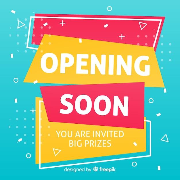 もうすぐグランドオープン、発表デザイン 無料ベクター