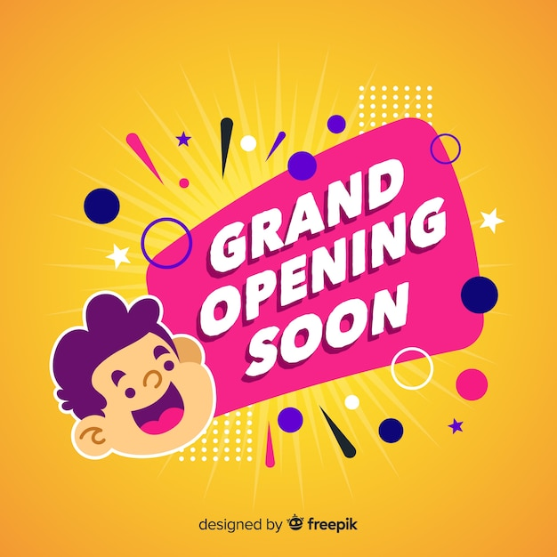 Grand opening soon in flat design Free Vector