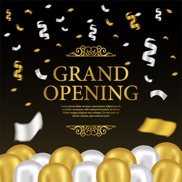 grand opening template with gold and silver balloons vector