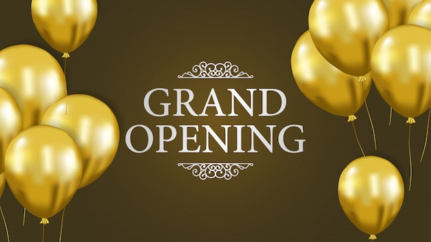 Grand opening template with gold balloon Premium Vector