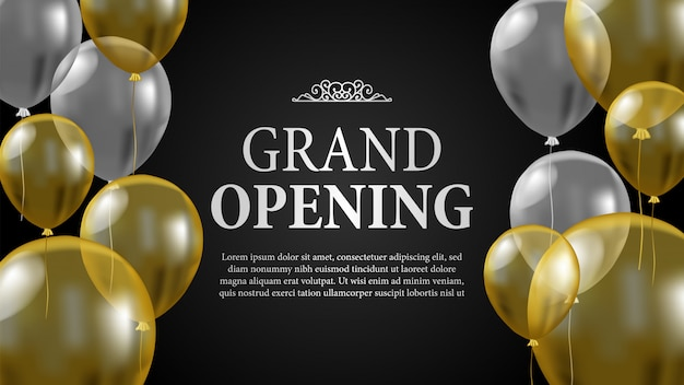 Grand opening template with gold and silver balloon Premium Vector