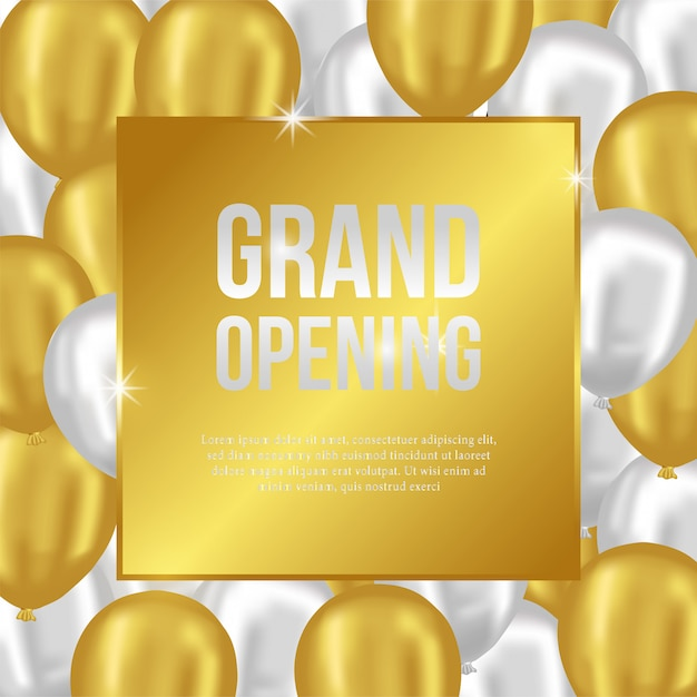 Grand opening template with gold and silver balloons Premium Vector
