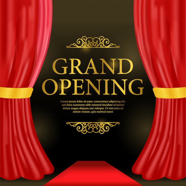 Grand opening template with red curtain and red carpet Premium Vector