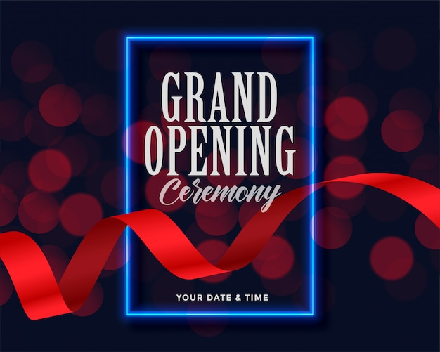 Grand opening template with ribbon and bokeh lights Free Vector