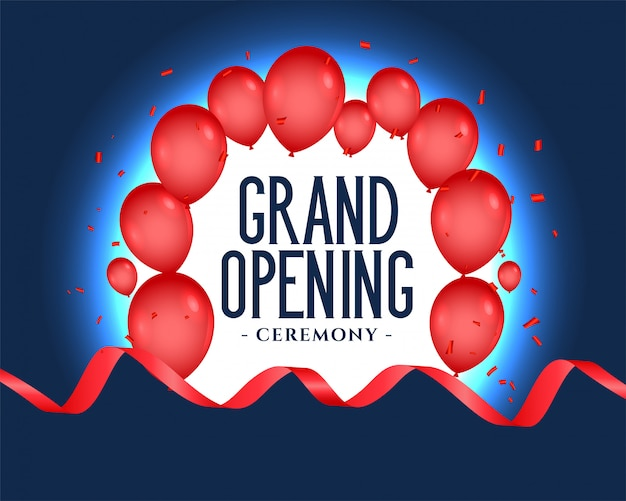 Grand opening text with balloons decoration Free Vector