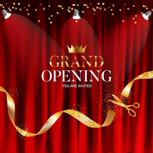 Grand opening   with ribbon and scissors background. Premium Vector