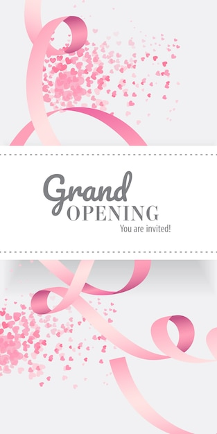 Grand opening you are invited lettering with pink ribbon Free Vector