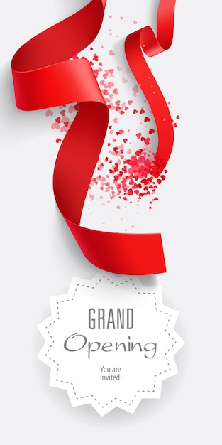 Grand opening you are invited lettering with red ribbons Free Vector
