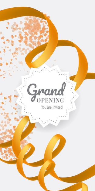 Grand opening you are invited lettering with swirl golden ribbon Free Vector