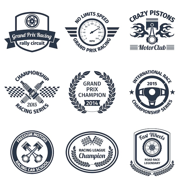 Grand prix racing crazy pistons motorclub black emblems set isolated vector illustration Free Vector