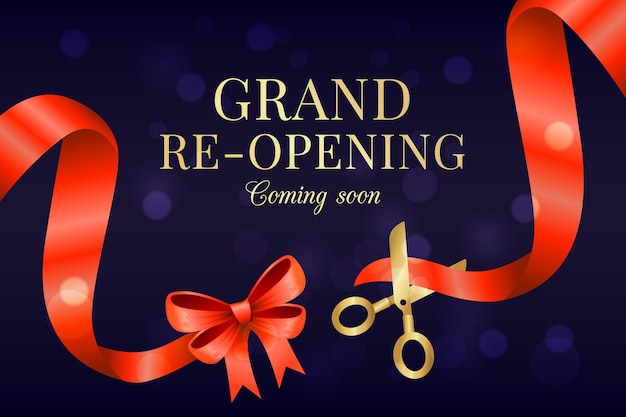 Grand re-opening background coming soon Free Vector