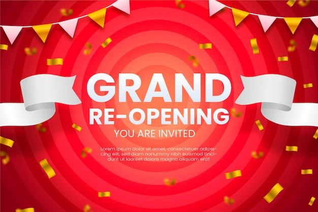 Grand re-opening background inviting customers Premium Vector