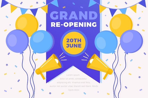 Grand re-opening background style Free Vector