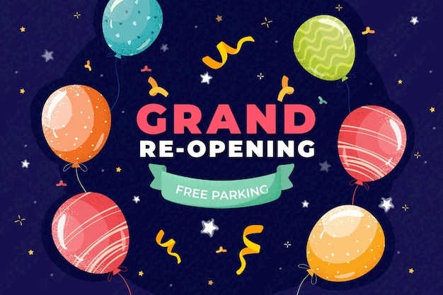 Grand re-opening background with balloons and confetti Free Vector