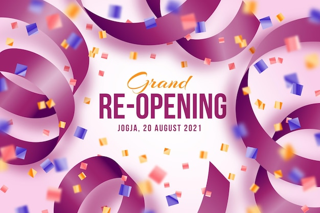 Grand re-opening background with confetti and ribbon Free Vector