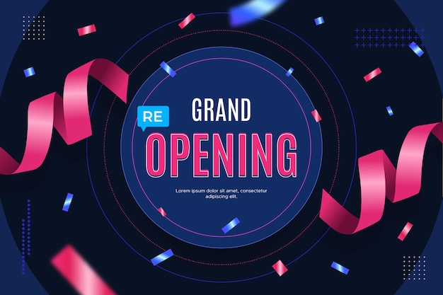 Grand re-opening background with confetti Free Vector