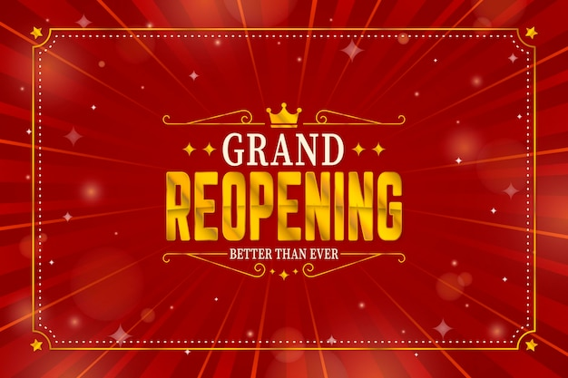 Grand re-opening background with gold crown Free Vector