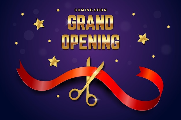 Grand re-opening background Free Vector