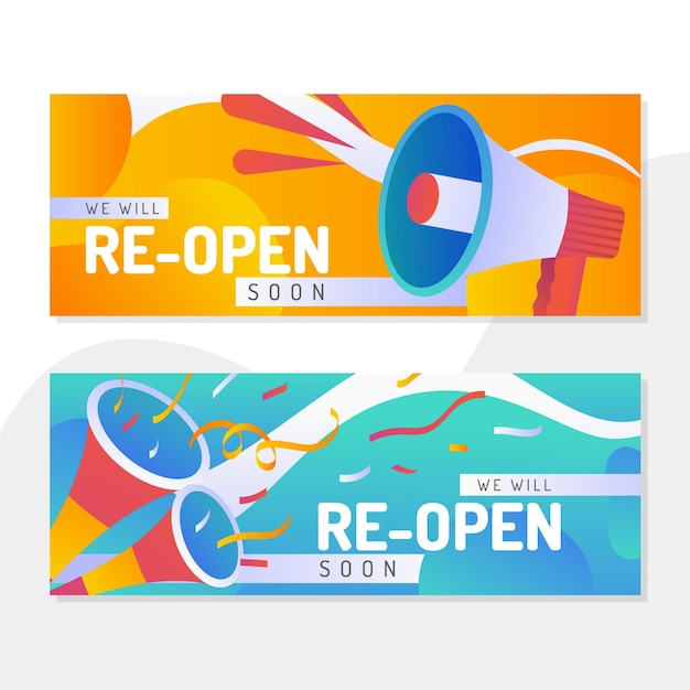 Grand re-opening banner design Free Vector