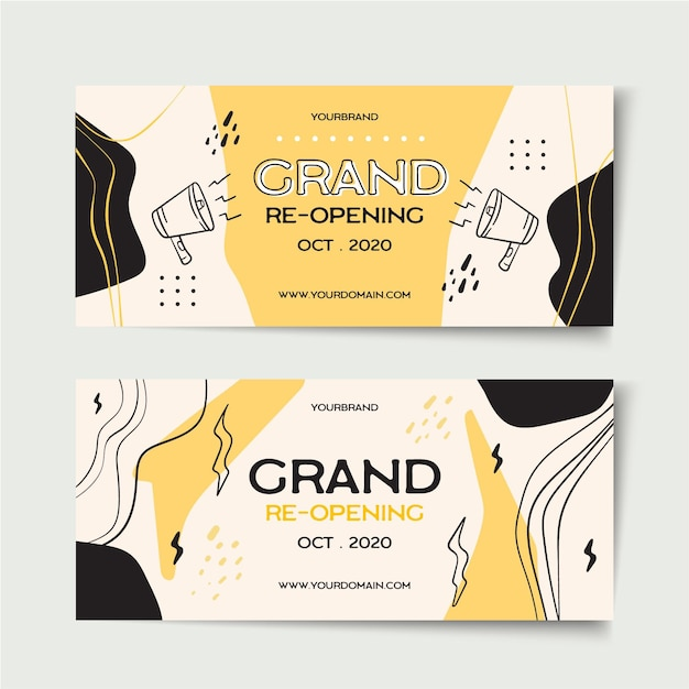 Grand re-opening banner template Free Vector