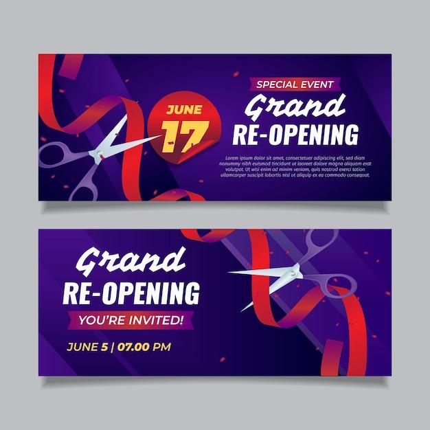 Grand banner di riapertura Vettore gratuito