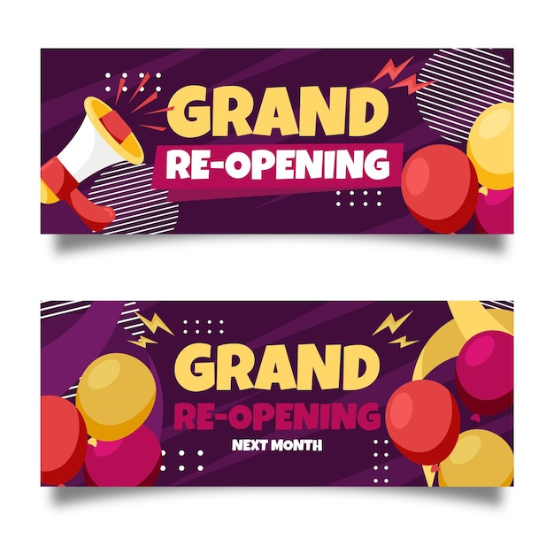 Grand re-opening banners with megaphone Free Vector